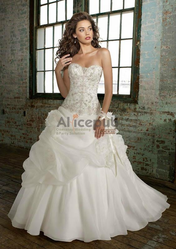 Chiffon Pick up A line Gown with Beaded and Lace Bodice Wedding ...