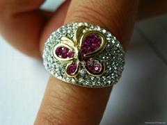 供应时尚镶钻蝴蝶戒指