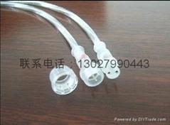 供应2芯透明系列软灯条防水连接插头线
