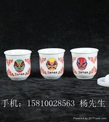 京剧脸谱粉彩口杯酒杯