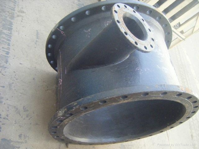 Ductile iron tee pipe fittings dn three