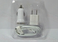 3in1 Travel Kit,Home Wall Charger Car Power Charger USB Data Cable for iphone4s