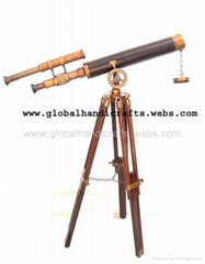 one meter double barrell telescope with wooden tripod