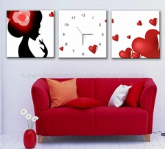 Canvas Painting Large Wall Clock with Three Pictures