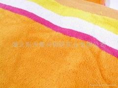 供应全棉割绒活性印花沙滩巾