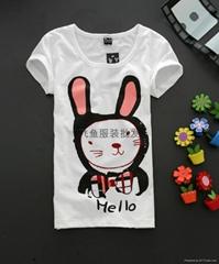 飞鱼服装纯棉女款T恤厂家长期供货