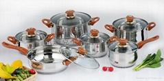 不鏽鋼復底十二件套鍋