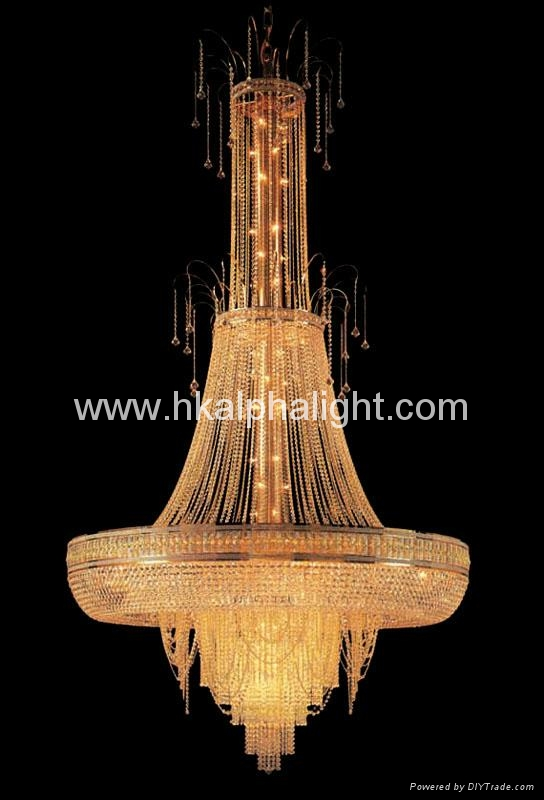 gold K9 crystal pendant lamp for hotel project  1