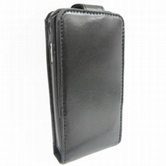 PU Flip leather case with Clip for iPhone 4G