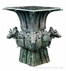 Bronze Four-goat Square  Zun