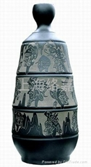影雕黑陶工藝品