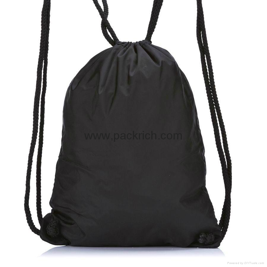 Black Nylon Drawstring Gym Sack Pack - PRDR 1001 - PACKRICH (China ...
