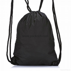 Black Nylon Drawstring Gym Sack Pack
