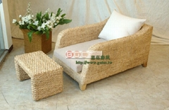 Seagrass rattan chaise lounge