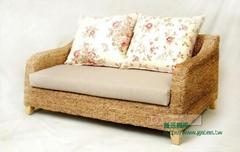 Seagrass rattan-seater sofa
