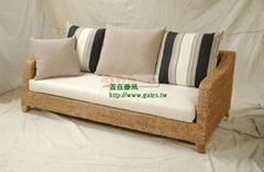 Seagrass rattan three-seat sofa