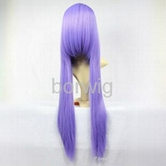 Long Straight Light Purple Cosplay Wig Synthetic Hair Wig Customized Wigs