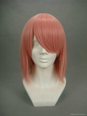 Pink Straight Short Cosplay Wig Synthetic Hair Wig Customized Wigs