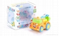 Four solid -color light and music cartoon Friction plastic toy car