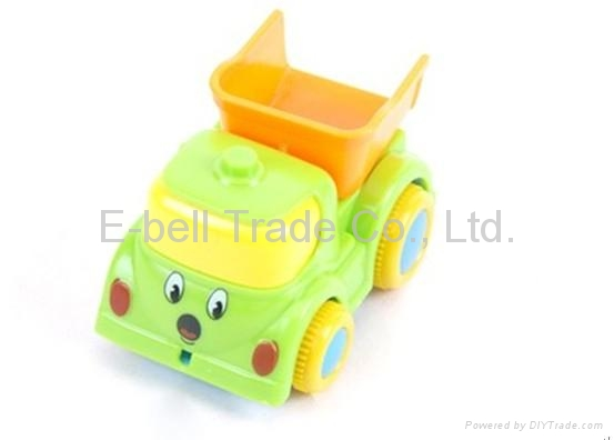 Four solid -color light and music cartoon Friction plastic toy car 3