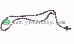 rosary beads made of oval wooden beads