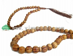 islamic rosary beads made of pine wood beads