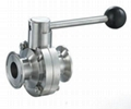 sanitary stainless steel clamped manual butterfly valve