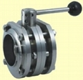 sanitary stainless steel 3pcs flange manual butterfly valve