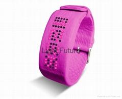 时尚LED真皮手表