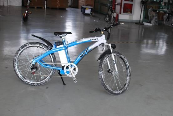 ebike with 6-speed mountain outside  1
