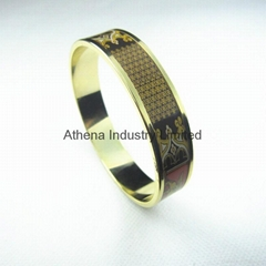 Top quality luxury colorful print Egypt Pharaoh enamel metal bangle bracelet