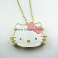 Hello Kitty metal solid perfume container necklace pendant jewelry