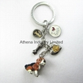 Fashion metal enamel dog key ring
