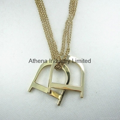 "Two ""D"" metal pendant necklace    fashion jewelry"