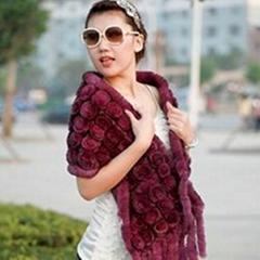 2011 new fashion knitted rex rabbit flower shawl