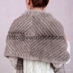2011 New Fashion saphire mink knitted shawl