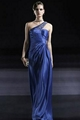 sell blue satin embroidered one shoulder