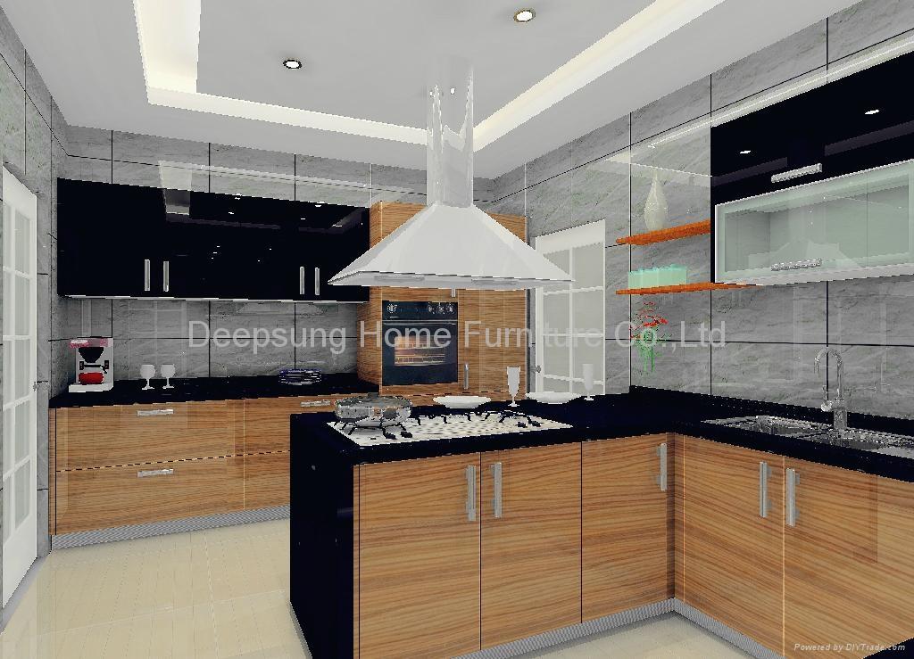 Wood grain kitchen cabinet sl 03 deepsung home for Wood grain kitchen doors