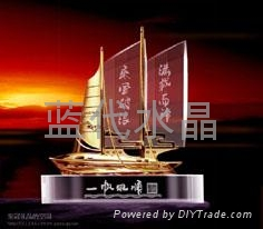 水晶工藝品帆船