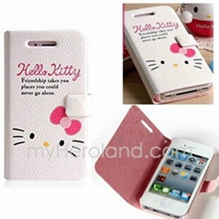 Hello Kitty Pattern Diary Leather Case with Magnetic Lock Button for iPhone 4 4G