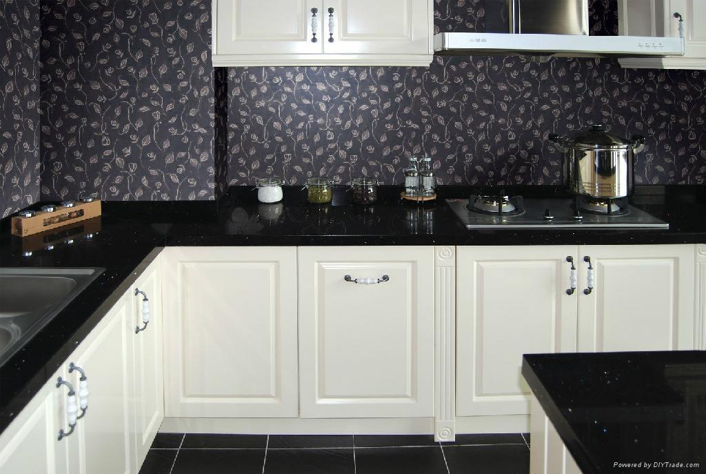 Artificial quartz kitchen countertop black color for Best quartz countertop brand