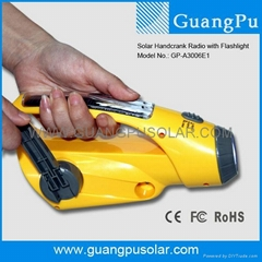 Multi Function Crank Dynamo Solar Radio Flashlight (GP-003B09)