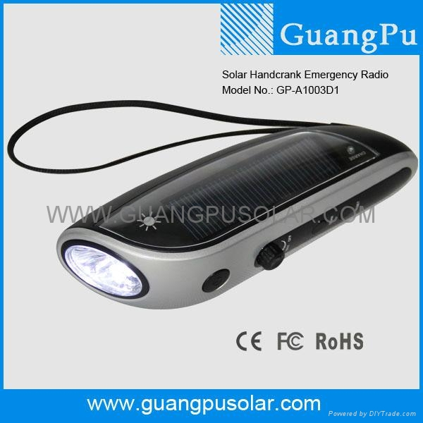 Hand Crank Solar Torch With Radio and Cellphone Charger 1