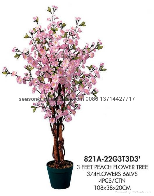 artificial peach flower tree - 821a-22g3t3d3' - jiyuanflower (china