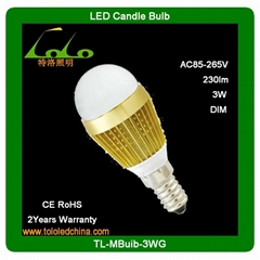 4W dimmable led cob candle bulb