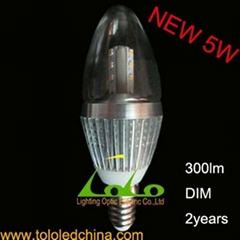 5w dimmable led candle bulb for crystal light
