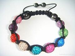 Rainbow Shamballa style bracelet