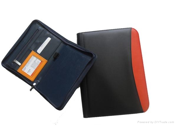 Leather/pu zippered portfolio with calculator for meeting 5