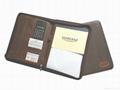 Leather portfolio with zipper and calculator 2