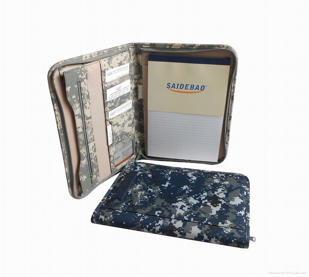 Multifunction leather portfolio with zipper and pen loop 1